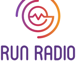 """Run Radio logo with broken circle and wave graphic and """"life and radio run together"""" tagline."""