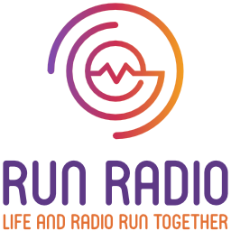 "Run Radio logo with broken circle and wave graphic and ""life and radio run together"" tagline."